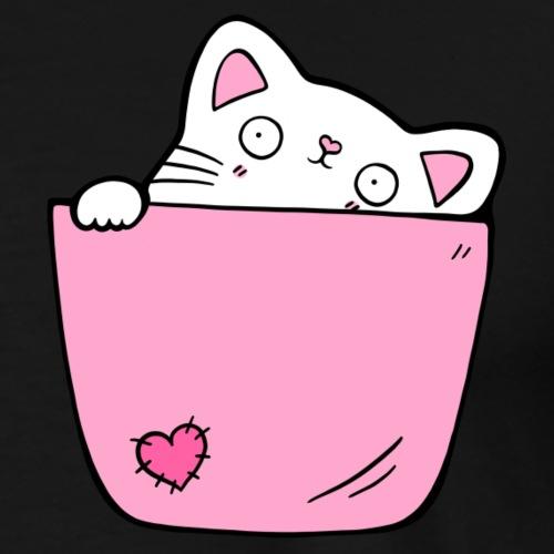 Katze Pocket Design Katzenfreund Geschenk - Männer Premium T-Shirt