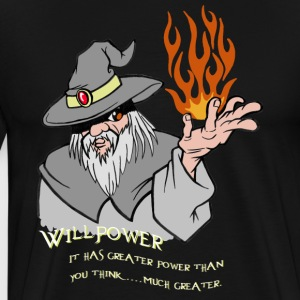 Willenskraft Wizard Grau / orange Flamme - Männer Premium T-Shirt