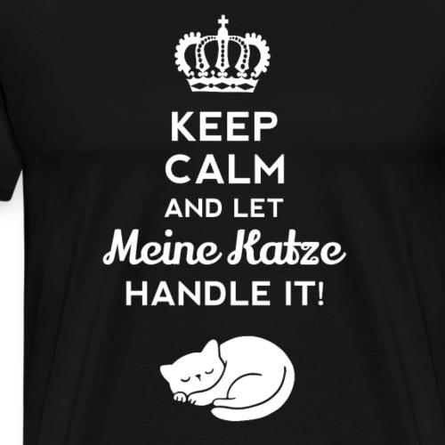 Keep Calm Katze Haustier Geschenk - Männer Premium T-Shirt