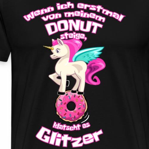 Einhorn - Donut - es klatscht Glitzer - Männer Premium T-Shirt