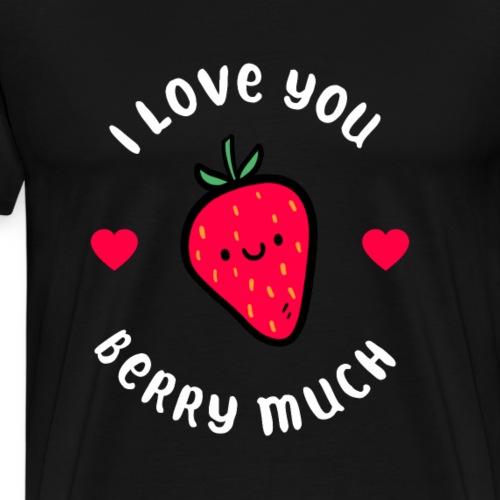Erdbeere Liebe Freundschaft Familie Illustration - Männer Premium T-Shirt