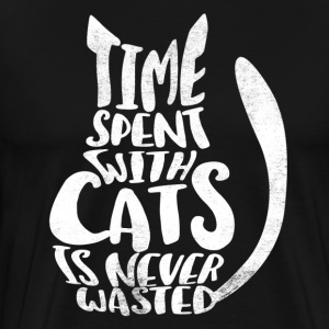 time spent with cats is never - Sigmund Freud - Männer Premium T-Shirt