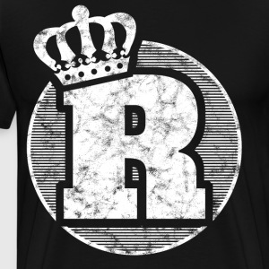 Stylish letter R with crown - Men's Premium T-Shirt