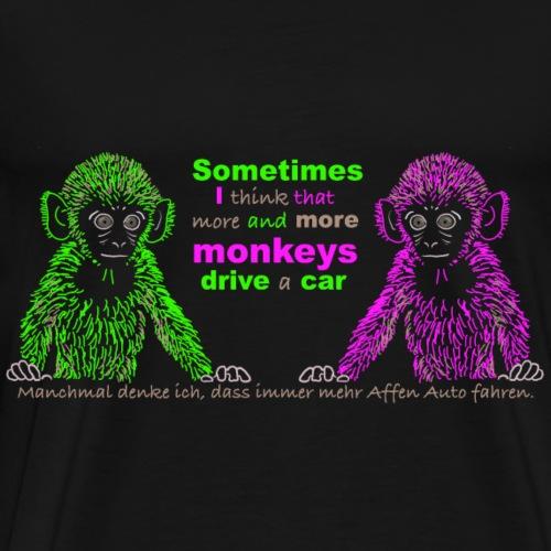 Affen reden über Autofahrer auf Englisch - Männer Premium T-Shirt