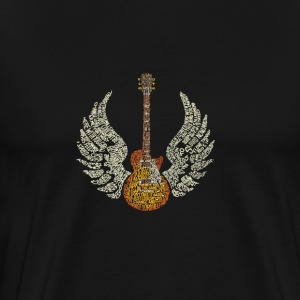 Gitar med Wings - Premium T-skjorte for menn