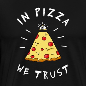 in pizza we Trust Illumination Pyramide Auge Humor - Männer Premium T-Shirt