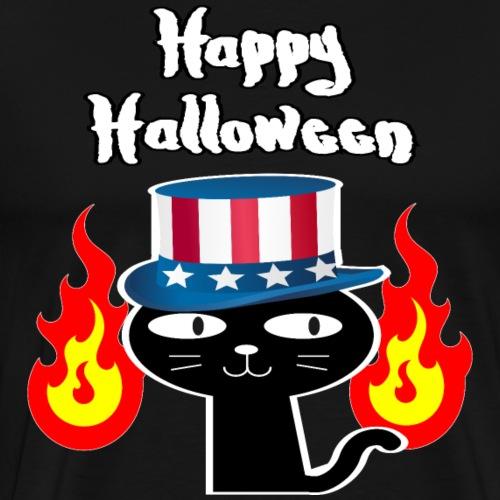 Happy Halloween mit schwarzer Katze mit USA Hut - Männer Premium T-Shirt