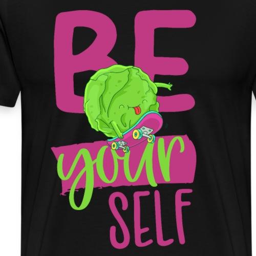 Be yourself happy Veggie Kohlkopf - Vegan Skater - Männer Premium T-Shirt