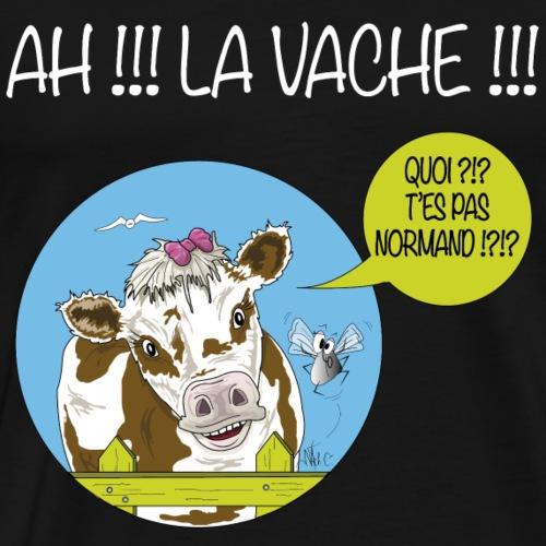 Marguerite Ah la vache!!  - texte blanc - T-shirt Premium Homme