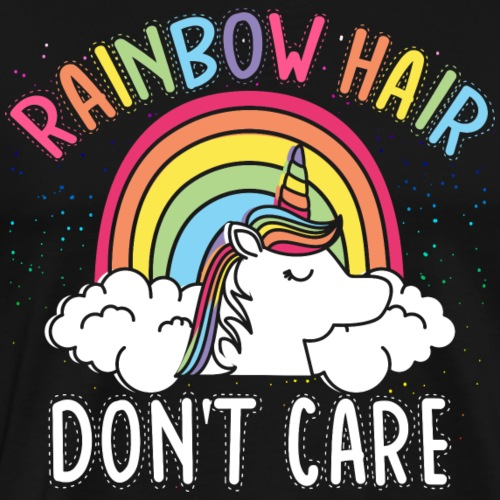 Unicorn rainbow Hair don't care Einhorn Regenbogen - Männer Premium T-Shirt