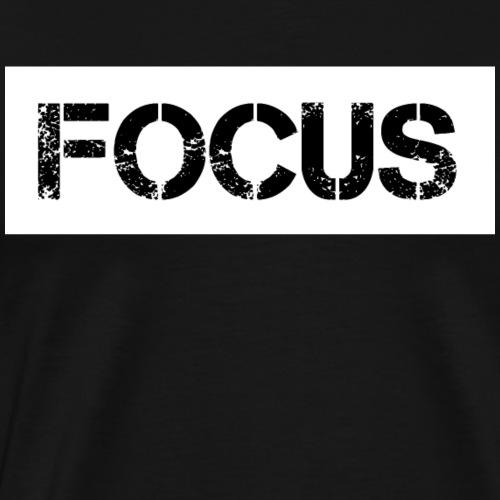 FOCUS. Weiß auf schwarzem Hintergrund - Männer Premium T-Shirt
