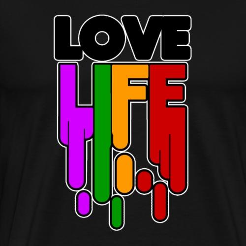 Love Life T Shirt Glücksshirt Schriftzug bunt - Männer Premium T-Shirt