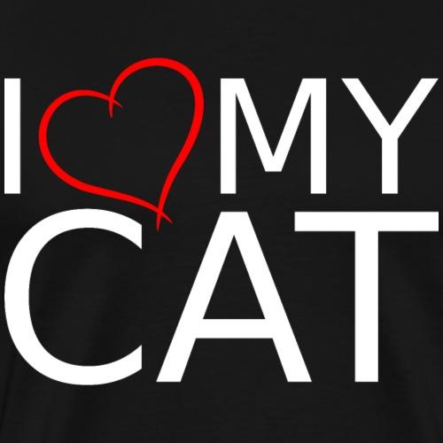 I LOVE MY CAT WEIß - Männer Premium T-Shirt