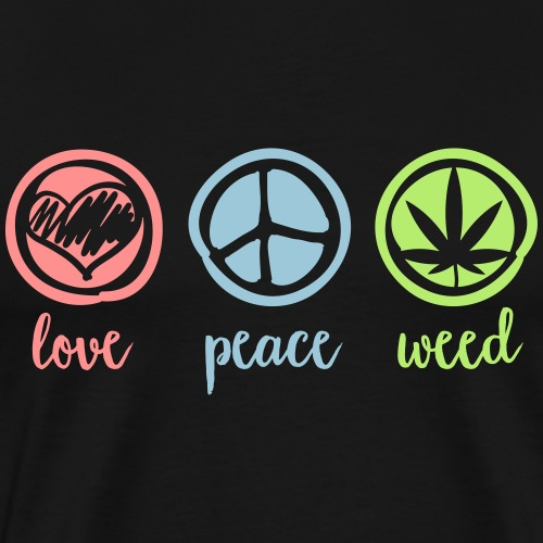 Cannabis Love and Peace and Weed Marihuana Dope - Männer Premium T-Shirt