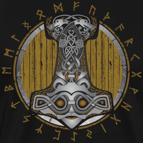 Thor Hammer Mjolnir Shield with light color runes - Men's Premium T-Shirt