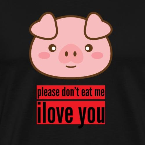 Cartoon-Schwein als süße Geschenkidee für Veganer - Männer Premium T-Shirt