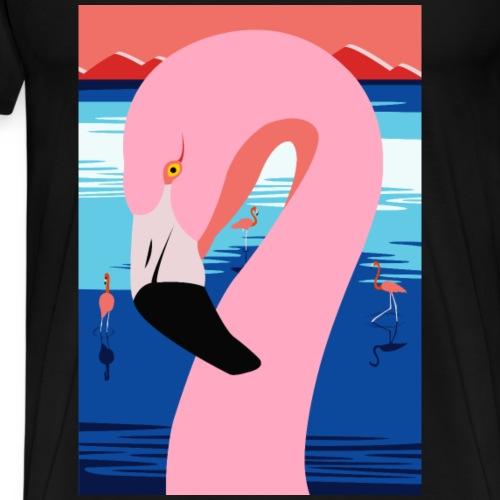 Sunset Flamingo - Premium-T-shirt herr