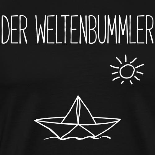 DER WELTENBUMMLER- Papierboot Boot Geschenk Shirts - Männer Premium T-Shirt