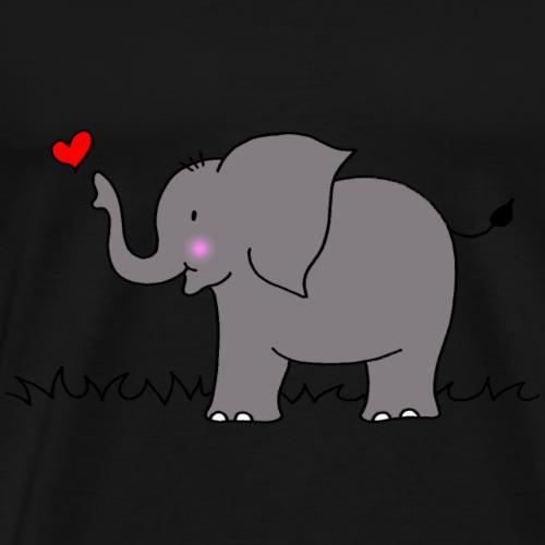 Elefant mit Herz - Männer Premium T-Shirt
