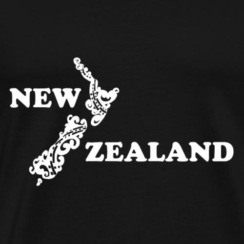 Neuseeland: Karte und Schriftzug in weiß - Männer Premium T-Shirt