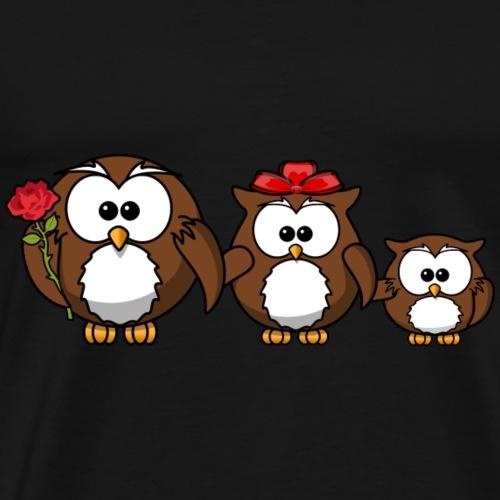 Owl Familiy - Männer Premium T-Shirt