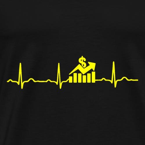 EKG HERZSCHLAG Börse - Kryptowährung Yellow - Männer Premium T-Shirt