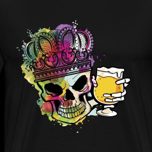 Craft Bier Skelett Hopfen König Halloween Assozial - Männer Premium T-Shirt