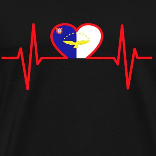 Azoren Flagge im Herz - Männer Premium T-Shirt