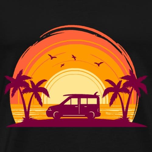 Surfbus im Sonnenuntergang - Männer Premium T-Shirt