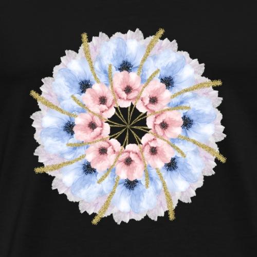 gentle pink blue flowers mandala - Men's Premium T-Shirt