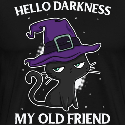 Funny Cat Halloween - hello darkness my old friend - Männer Premium T-Shirt
