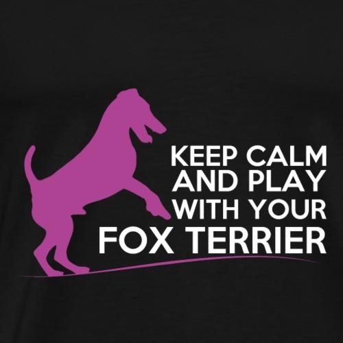 FOX KEEP CALM WHITE PINK - T-shirt Premium Homme