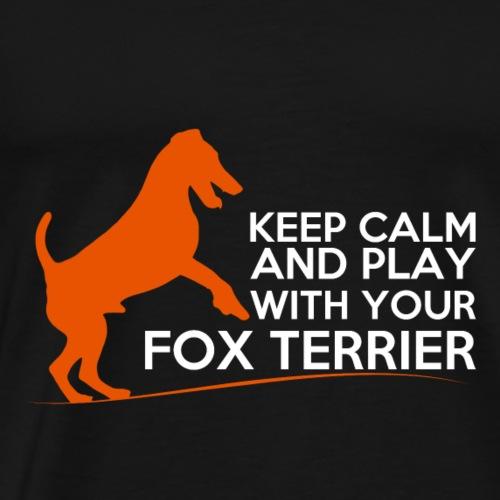 FOX KEEP CALM WHITE ORANGE - T-shirt Premium Homme