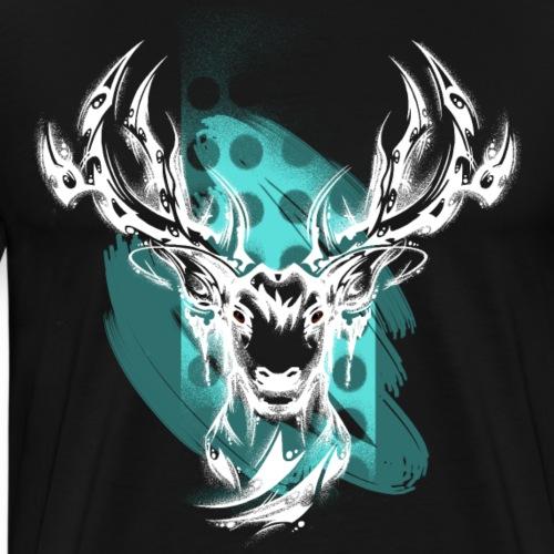 Hirschkopf weiss - Männer Premium T-Shirt