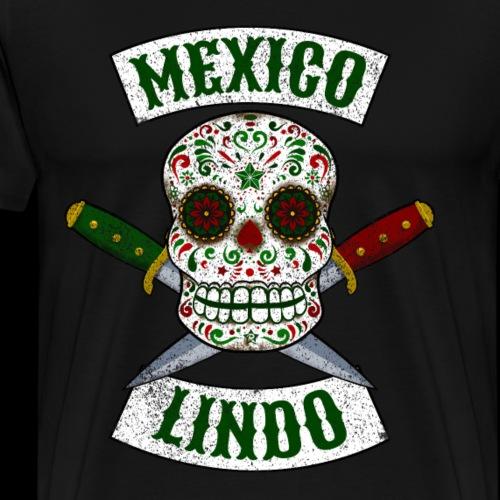 Calavera mexicana con puñales México lindo - Camiseta premium hombre