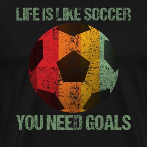 Life Is Like Soccer Retro Style - Männer Premium T-Shirt