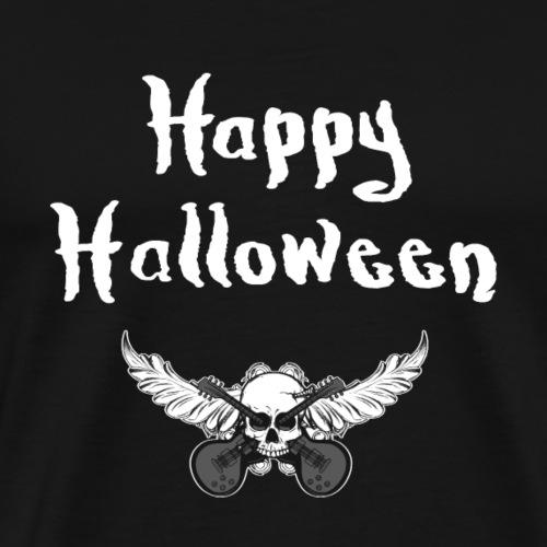Happy Halloween, Rockmusik Gitarren und Totenkopf - Männer Premium T-Shirt