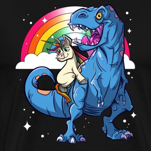 Dinosaurier mit Einhorn - Männer Premium T-Shirt