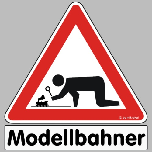 Warnschild Modellbahner Dampflok - Männer Premium T-Shirt