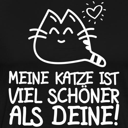 SCHÖNER ALS DEINE - Katzen Sprüche Geschenk Shirts - Männer Premium T-Shirt