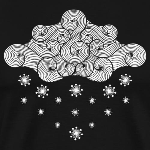 nuage blanc et flocons vacances d'hiver - T-shirt Premium Homme