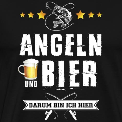 Angeln und Bier darum bin ich hier - Männer Premium T-Shirt
