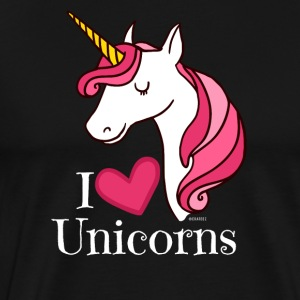 I Love Unicorns T Shirt - Heart Tee in White - Men's Premium T-Shirt