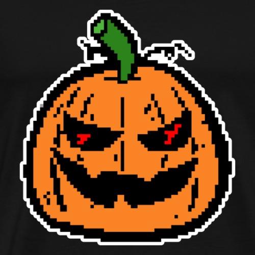 Pixel Kürbis - weiß umrandet. - Männer Premium T-Shirt