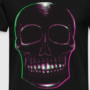 Blackwork Skull with Pink & Green - Men's Premium T-Shirt