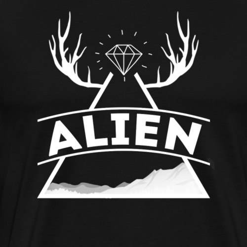 Alien - Hipster Logo Design - Premium T-skjorte for menn