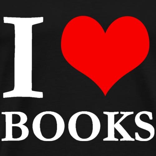 I love books (white) - Men's Premium T-Shirt