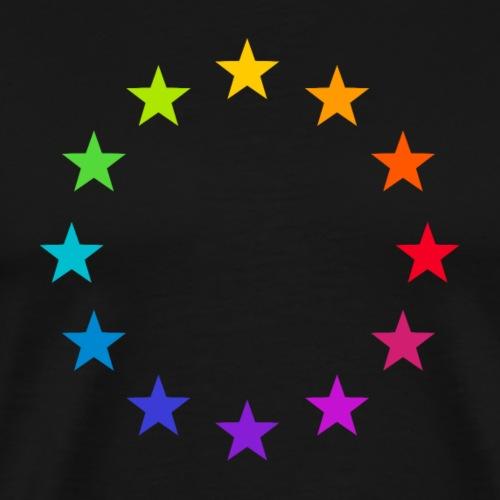 Europa EU Farbige Bunte Sterne Regenbogen Zeichen - Männer Premium T-Shirt