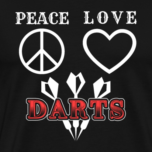 Peace Love Darts | Dart Player Gift - Männer Premium T-Shirt