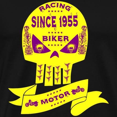 Gelber Biker Totenkopf mit Lila Vodoo Verziehrung - Männer Premium T-Shirt
